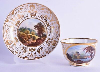 "fine quality derby porcelain tea cup & saucer - italian ""along the river tiber"""
