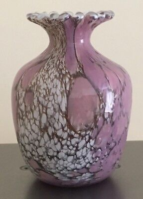 Guernsey  Glass  Pink Vase With Label.      Free Postage
