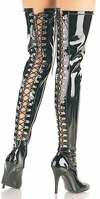 Bnwb 7 7.5 8 40 Pleaser Seduce Patent Lace Up Thigh Boots Dancer Fetish Stripper