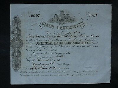 China 1851 Oriental Bank Corporation - share certificate
