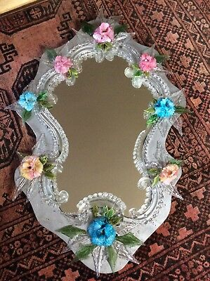 VINTAGE Murano Glass Flower Leaf Swags Rococo Mirror