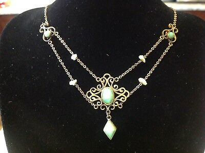 ANTIQUE Late 1800s green glass and pearl festoon