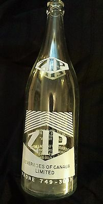 """Scarce Canadian (Toronto, Ont) """"zip"""" 30 Ounce Clear Bottle-White Acl-Excellent"""