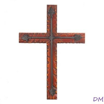 Beautifully Crafted Pine Wood & Cast Iron Wall Cross