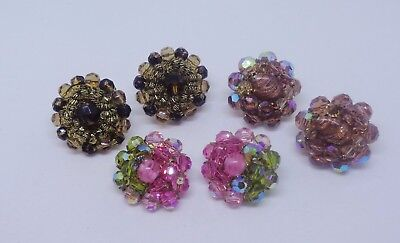 Vintage lot 3 pair earrings clip crystal glass cluster beads topaz 1 Vendome