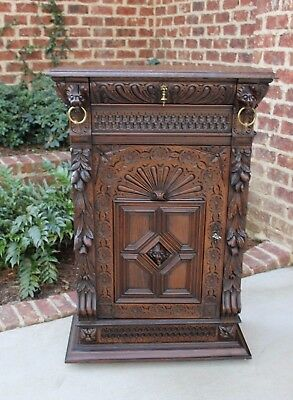 Antique French Carved Oak GOTHIC Black Forest Bookcase Cabinet w Drawer Lions #2