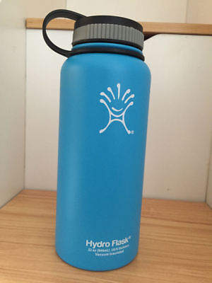 32oz Hydro Flask Insulated Stainless Steel Water Bottle Wide Mouth blue