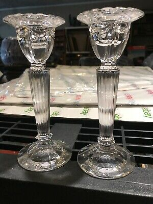 "Antique Crystal Candlesticks Pair 6"" Petite And Romantic"