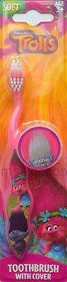 Trolls Toothbrush Pink With Protective Cover Soft Bristles Kids Girls