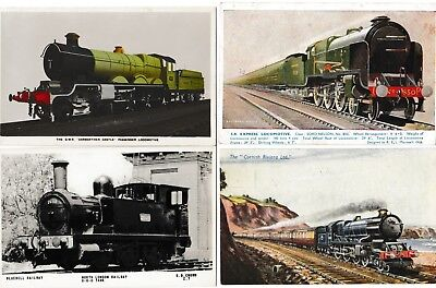 Steam trains locomotive collection of 4x postcards. good condition