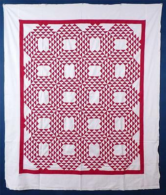 "ANTIQUE RED & WHITE, ""OCEAN WAVES"" QUILT TOP, c.1880-1900"