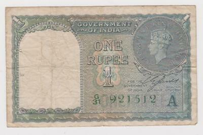 India 1 Rupee banknote, issued in 1940, circulated