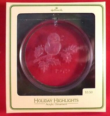 Hallmark 1979 HOLIDAY HIGHLIGHTS Bird Acrylic Ornament TREE-TRIMMER COLLECTION
