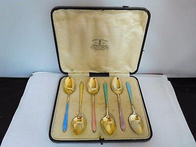 Very Pretty Cased Set Of Gilded English Sterling Silver And Enamel Spoons