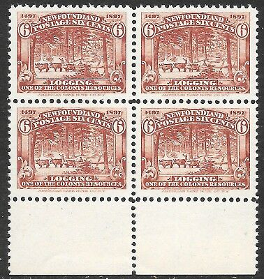 Newfoundland; Scott 66, MNH block.