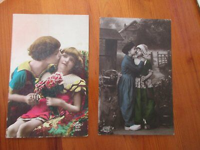 Collection of 6 VINTAGE POSTCARDS - BOY KISSING GIRL & COSTUMES