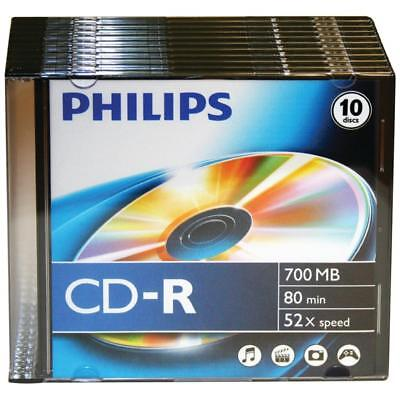 Philips 700mb 80-minute 52x Cd-rs With Slim Jewel Cases 10 Pk