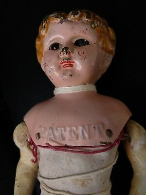 Antique Minerva Doll Metal tin Head patent 1 original body Germany 9""