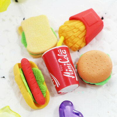 5Pcs Novelty Fast Food Rubber Pencil Eraser Set Stationery Children Toy Gifts