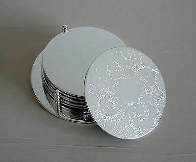 Set of 6 Vintage Silver Plated Decorative Coasters with Holder