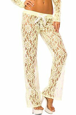 (TG. S) Verde (Green) Pink donne Rossetto lussuoso pizzo Lounge Pant, Verde, Pic