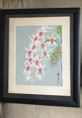 Japanese Woodblock Print By Zuigetsu Ikeda Orchids