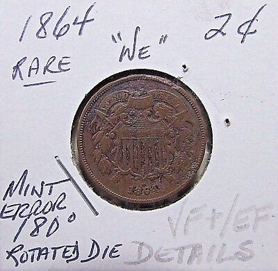 Rare...1864  2C Piece***Rotated Die Error...VF+ To EF Or So Details***