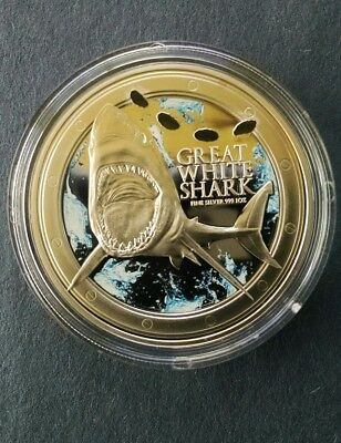 Niue 2012 $2 Great White Shark 1oz Proof .999 Silver Proof Coin With Teeth Marks