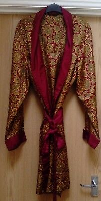 Vintage 60S 70S St Michael Red & Gold Paisley Dressing Gown Smoking Jacket Xl