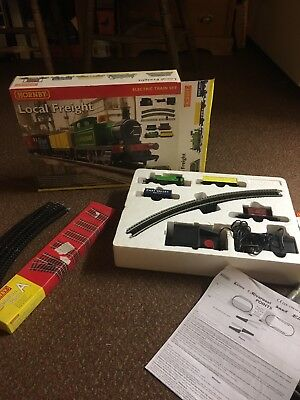 Hornby, local freight electric train set. in box, with 2 extra track packs.