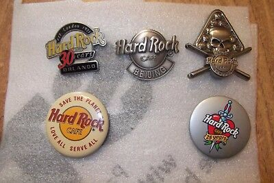 LOT OF 5 HARD ROCK CAFE PINS, ORLANDO, BEIJING, Skull pool MONTREAL & LANYARD