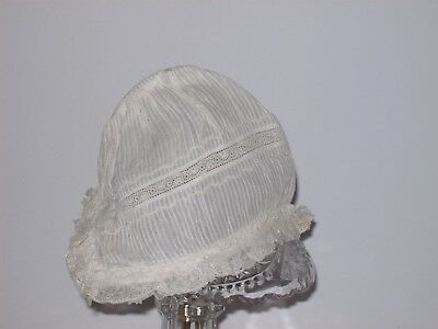 Antique White Baby Bonnet w/ Lace Trim Victorian Christening Hat