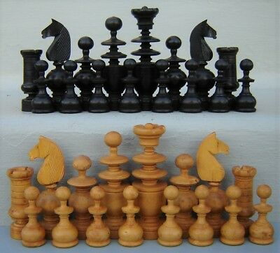 "Antique French Regency Wood Chess Set 3"" Kings France"