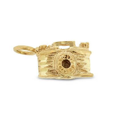 Vintage Camera Charm Pendant in Solid 14k Yellow Gold