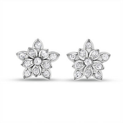 2.20 CT Vintage Natural Diamond Gorgeous Flower Earrings Solid 14k White Gold