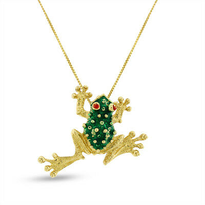 Vintage Frog Toad Pendant Green Enamel In Solid 14k Yellow Gold