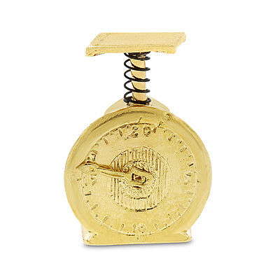 Vintage Industrial Weight Scale Moving Dial Charm Solid 14k Yellow Gold