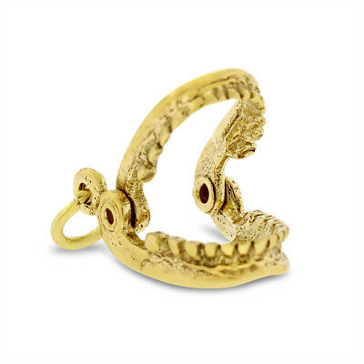 Vintage Opening Mouth With Teeth Jaw Charm In Solid 14k Yellow Gold