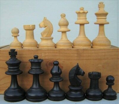 """Vintage French Wood Chess Set in Jaque's Staunton Pattern 2 1/8"""" Kings France"""