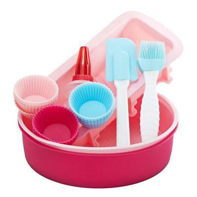 SILICONE BAKEWARE SET Cupcake Round Cake Loaf Mould Spatula Pastry Brush Squeeze