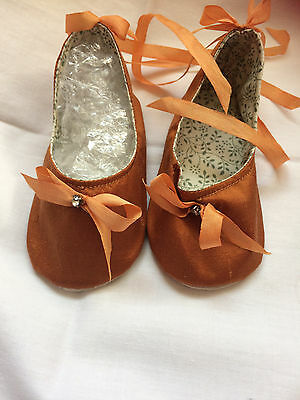 """Antique Repro Dolls Silk Shoes ,gold & Sweet Detail & Ribbons 30""""+ Dolls 5""""x 2"""""""