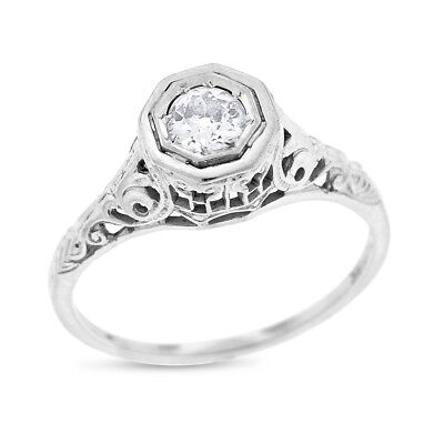 0.25 Carat Vintage Natural Diamond Art Deco Engagement Ring In Solid 18k White G