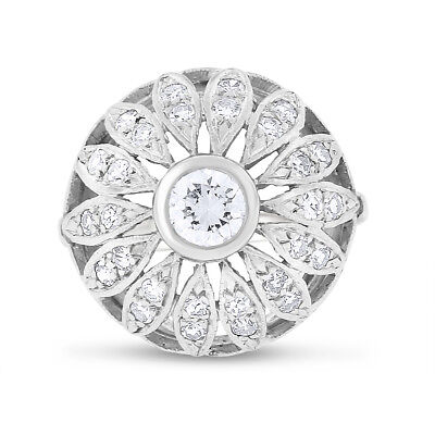 1.20 CT Vintage Natural Diamond Floral Dome Ring in Solid 14k White Gold