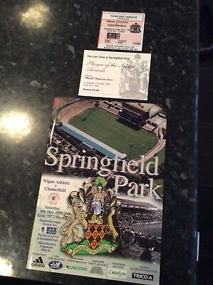 Tickets And Programme Wigan Athletic V Chesterfield 1999 Last Game At Wigan Ath