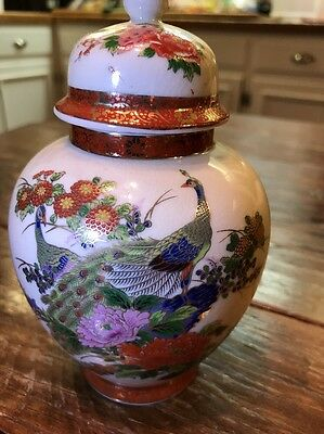 Vintage Satsuma Jar With Lid Vase Old Japanese Pottery Signed 6""