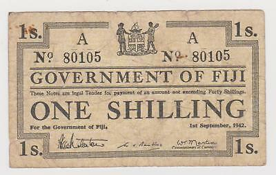Fiji One Shilling banknote, issued in 1942, Uniface, circulated