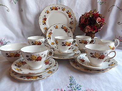 Beautiful Vintage Colclough Yellow And Orange Rose 18 Piece Tea Set