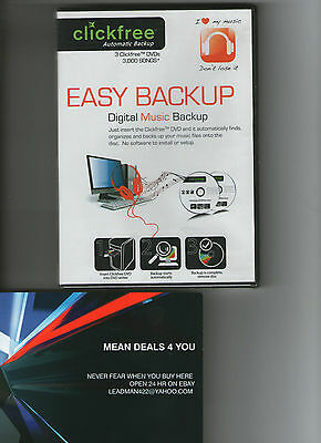 Click Free NEW 3 Pk Music Dvd Backup Has 4.5GB storage space 1000 songs per disk
