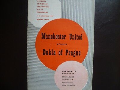 Manchester United v Dukla Prague November 1957 European Cup