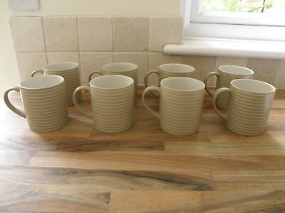 Set of 8 Denby Mugs Beige White Stripe